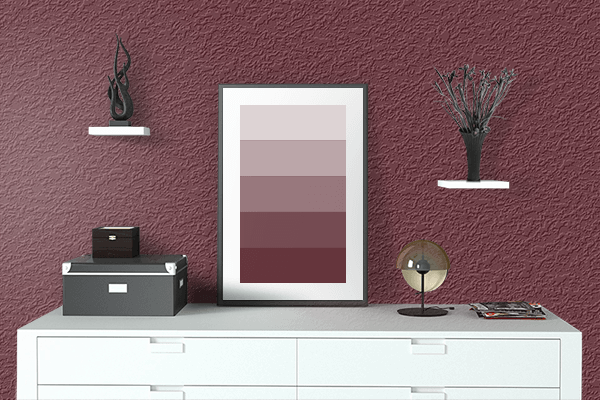 Pretty Photo frame on Sangria color drawing room interior textured wall