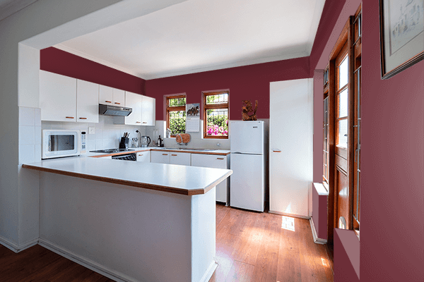 Pretty Photo frame on Sangria color kitchen interior wall color