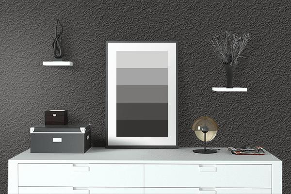Pretty Photo frame on 黒橡 (Kurotsurubami) color drawing room interior textured wall