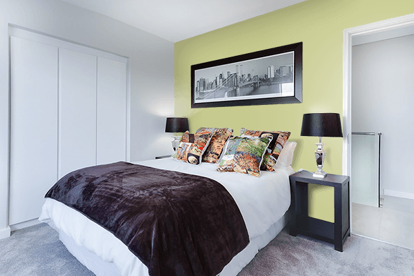 Pretty Photo frame on Springtide Green color Bedroom interior wall color