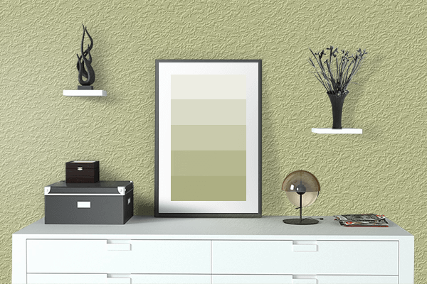 Pretty Photo frame on Springtide Green color drawing room interior textured wall