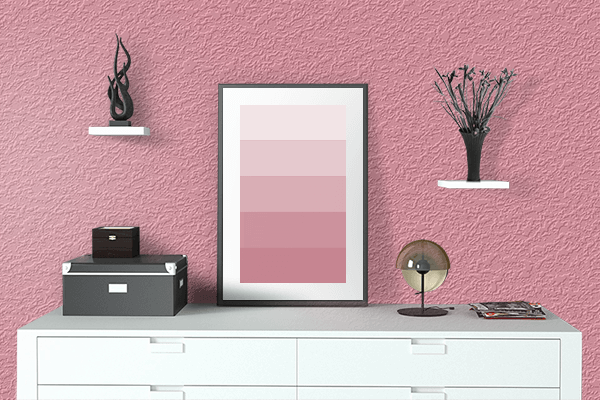 Pretty Photo frame on Baby Pink (RAL Design) color drawing room interior textured wall