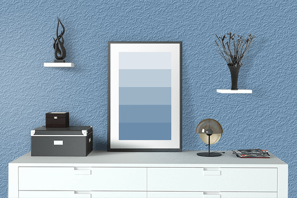 Pretty Photo frame on Cerulean Frost color drawing room interior textured wall