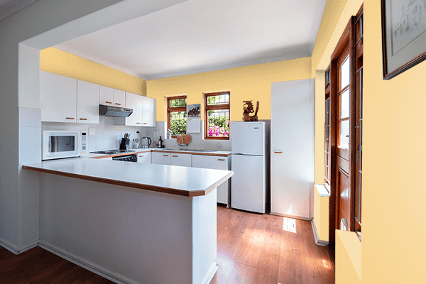 Pretty Photo frame on Light Ginger Yellow color kitchen interior wall color