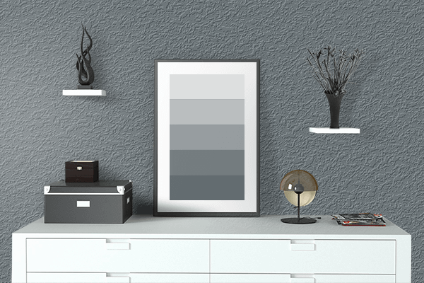 Pretty Photo frame on Porpoise color drawing room interior textured wall