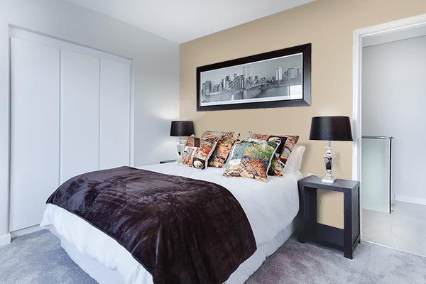 Pretty Photo frame on Sandstorm color Bedroom interior wall color