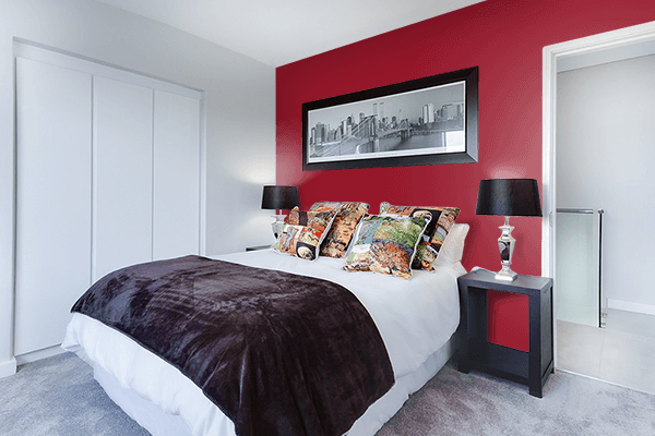Pretty Photo frame on Savvy Red color Bedroom interior wall color