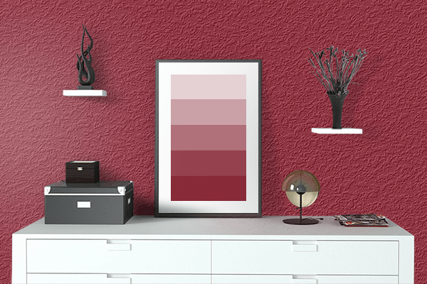 Pretty Photo frame on Savvy Red color drawing room interior textured wall