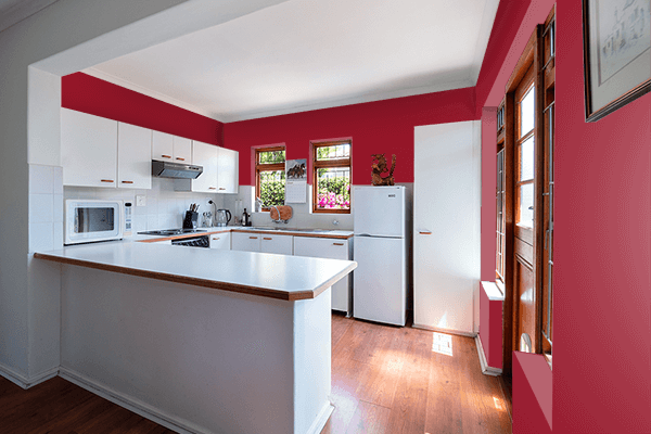 Pretty Photo frame on Savvy Red color kitchen interior wall color
