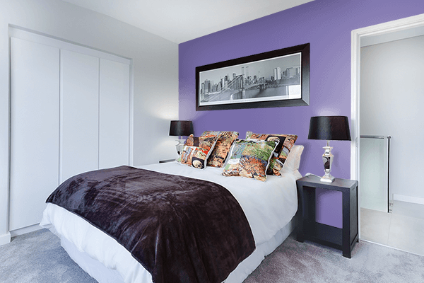 Pretty Photo frame on Wintertime Mauve color Bedroom interior wall color