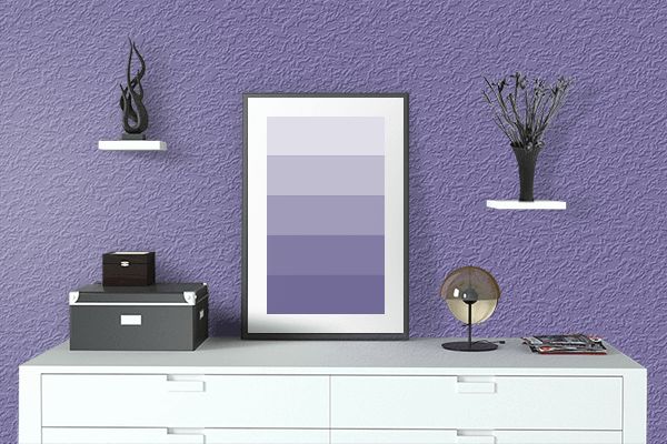 Pretty Photo frame on Wintertime Mauve color drawing room interior textured wall