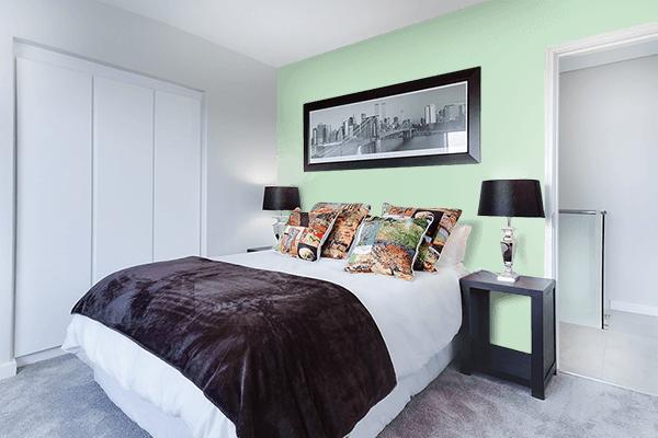 Pretty Photo frame on Celadon color Bedroom interior wall color