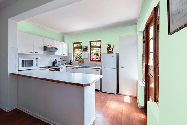 Pretty Photo frame on Celadon color kitchen interior wall color