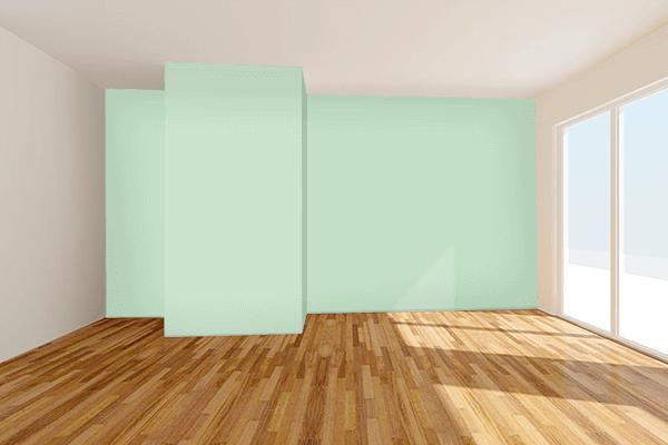 Pretty Photo frame on Celadon color Living room wal color
