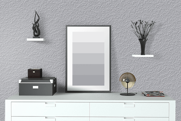 Pretty Photo frame on Frosted Silver color drawing room interior textured wall