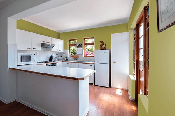 Pretty Photo frame on Lettuce Green color kitchen interior wall color