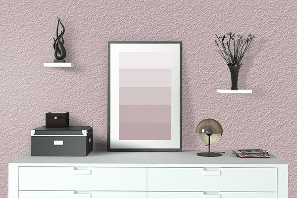 Pretty Photo frame on Mud Pink color drawing room interior textured wall