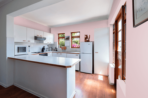 Pretty Photo frame on Mud Pink color kitchen interior wall color
