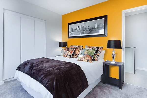 Pretty Photo frame on Pumpkin Yellow color Bedroom interior wall color