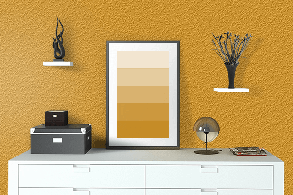 Pretty Photo frame on Pumpkin Yellow color drawing room interior textured wall