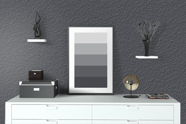 Pretty Photo frame on Charcoal Frost color drawing room interior textured wall