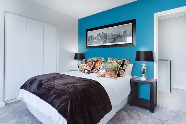 Pretty Photo frame on Cerulean CMYK color Bedroom interior wall color