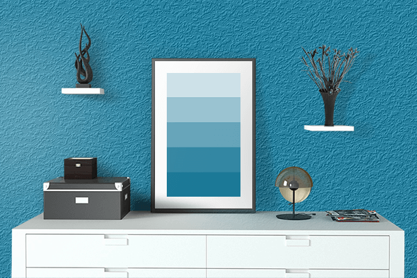 Pretty Photo frame on Cerulean CMYK color drawing room interior textured wall