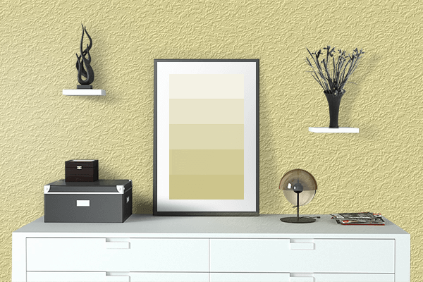 Pretty Photo frame on Sunlight color drawing room interior textured wall