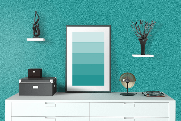 Pretty Photo frame on Spring Teal color drawing room interior textured wall