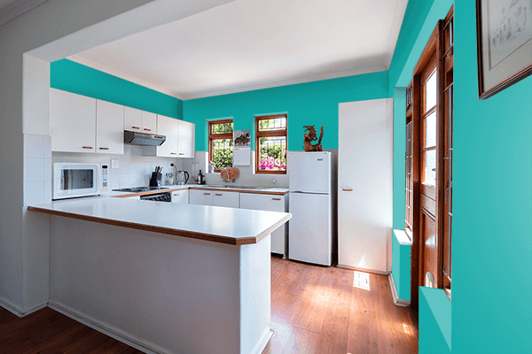 Pretty Photo frame on Spring Teal color kitchen interior wall color