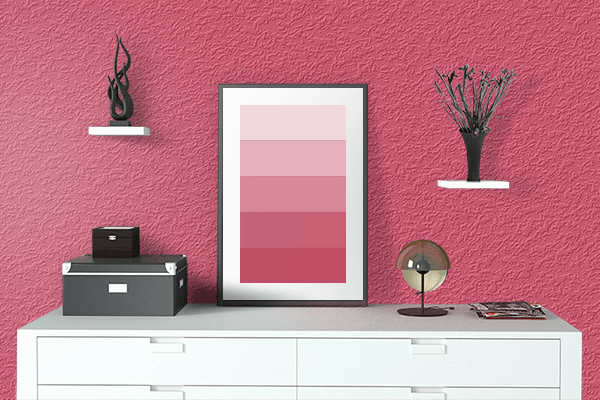 Pretty Photo frame on Rouge Red color drawing room interior textured wall