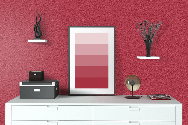 Pretty Photo frame on Spring Red color drawing room interior textured wall