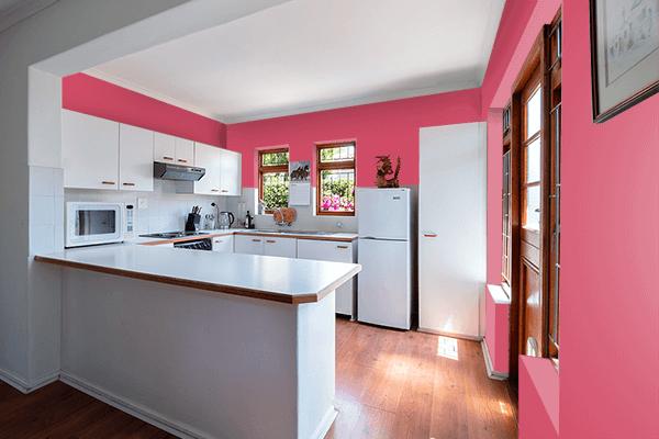 Pretty Photo frame on Dark Tulip color kitchen interior wall color