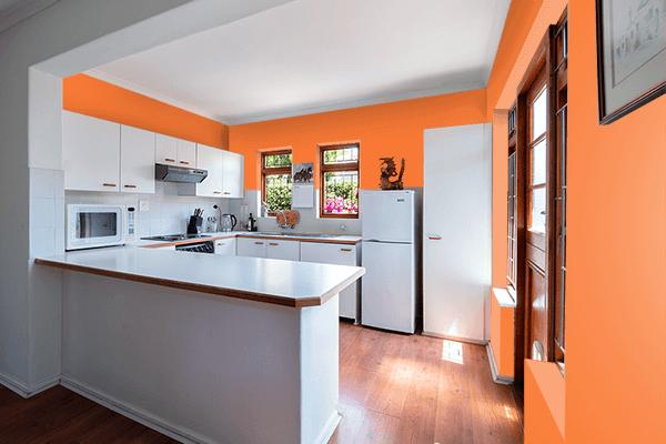 Pretty Photo frame on Orange Peel (Pantone) color kitchen interior wall color