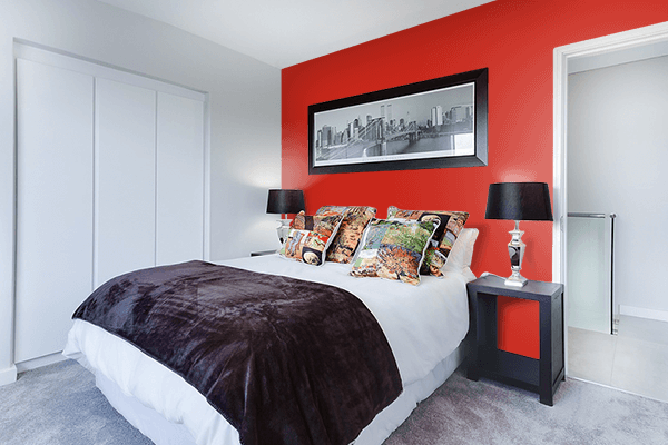 Pretty Photo frame on Easter Red color Bedroom interior wall color
