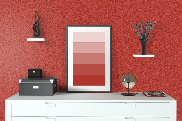 Pretty Photo frame on Easter Red color drawing room interior textured wall