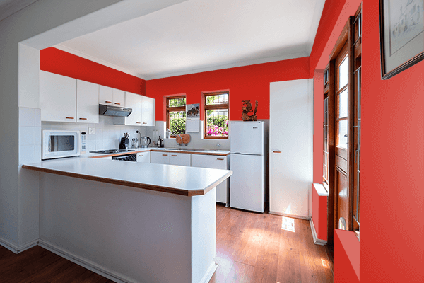 Pretty Photo frame on Easter Red color kitchen interior wall color