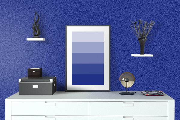 Pretty Photo frame on Indigo Dye color drawing room interior textured wall