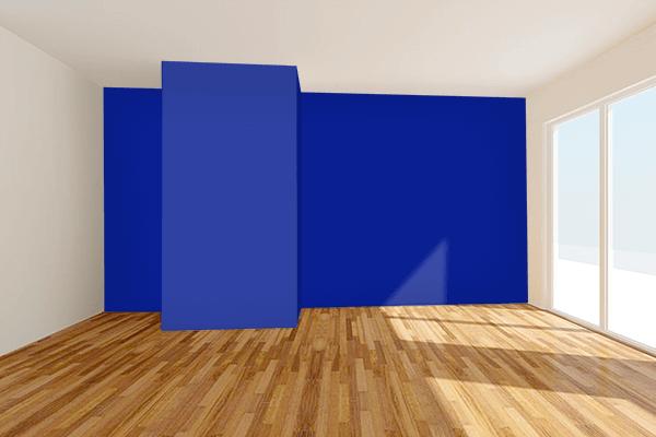 Pretty Photo frame on Indigo Dye color Living room wal color