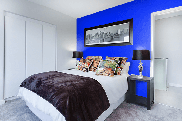 Pretty Photo frame on Bluebonnet color Bedroom interior wall color