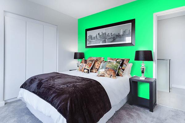 Pretty Photo frame on Guppie Green color Bedroom interior wall color