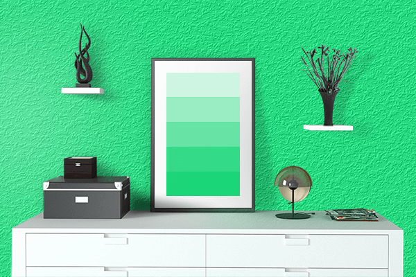 Pretty Photo frame on Guppie Green color drawing room interior textured wall