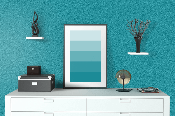 Pretty Photo frame on Blue (Munsell) color drawing room interior textured wall