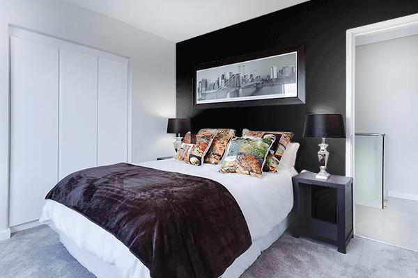 Pretty Photo frame on Rich Black (FOGRA39) color Bedroom interior wall color