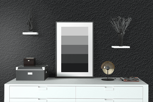 Pretty Photo frame on Rich Black (FOGRA39) color drawing room interior textured wall