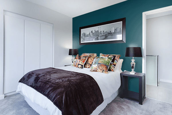 Pretty Photo frame on Midnight Green (Eagle Green) color Bedroom interior wall color