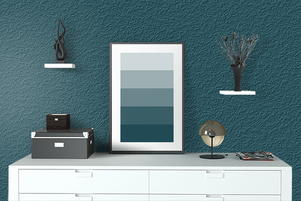 Pretty Photo frame on Midnight Green (Eagle Green) color drawing room interior textured wall