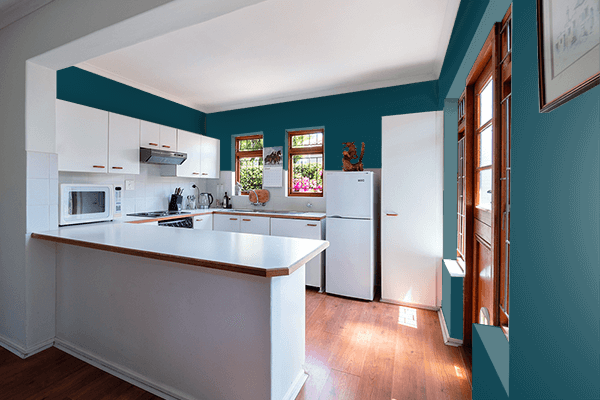 Pretty Photo frame on Midnight Green (Eagle Green) color kitchen interior wall color