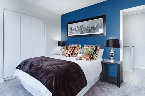 Pretty Photo frame on Dark Cerulean color Bedroom interior wall color