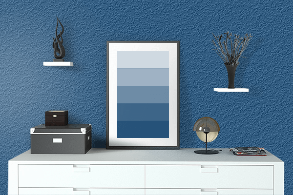 Pretty Photo frame on Dark Cerulean color drawing room interior textured wall